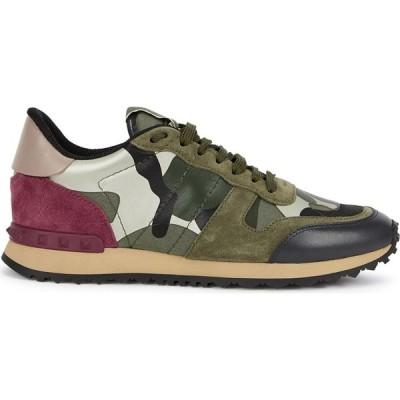 ヴァレンティノ Valentino レディース スニーカー シューズ・靴 Garavani Runner Camouflage-Print Suede Sneakers Green