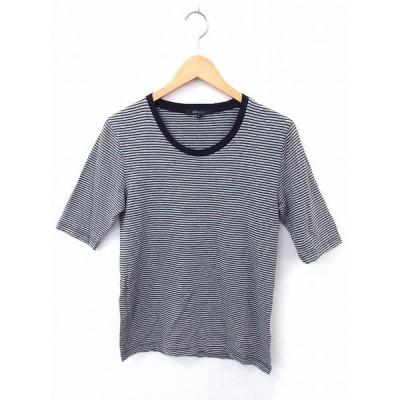 アバハウス ABAHOUSE Tシャツ カットソー ボーダー 丸首 半袖 コットン 綿 2 グレー 灰 /FT5 レディース【中古】【ベクトル 古着】