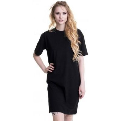 アーバンクラシックス Urban Classics レディース ワンピース スリットワンピース ワンピース・ドレス - Organic Oversized Slit Tee Black - Dress black