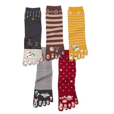 【WEB限定】指先まで楽しい冬の動物柄5本指クルーソックス5足組(フリーサイズ) ショート・クルーソックス, Socks