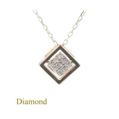 【揺れる】 K10 YG ダイヤモンド ネックレス レディース スクエア 揺れるダイヤモンド 10金 イエローゴールド ゴールド ジュエリー