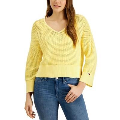 トミー ヒルフィガー レディース ニット・セーター アウター Cotton Open-Stitch Sweater