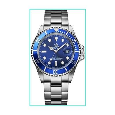 【新品】Fanmis Blue Dial Rotatable Bezel Sapphire Luminous Hand Quartz Mens Womens Silver Stainless Steel Watches(並行輸入品)