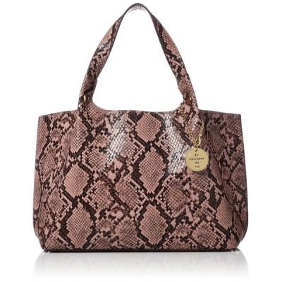 [サック] パイソン柄メダル付きシンプル ラミュソン ヘビ柄 人気バッグの ピンク