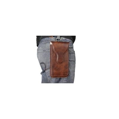 [コーヒー]Bakeeyメンズフェイクレザーユニバーサル電話ポーチレトロRhinoパターン2層電話バッグウエストバッグUMIDIGI S5 Pro電話
