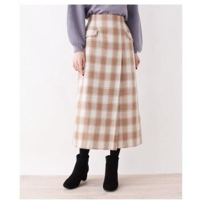 OPAQUE.CLIP(オペーク ドット クリップ)【洗える】ビックチェックWポケットタイトスカート