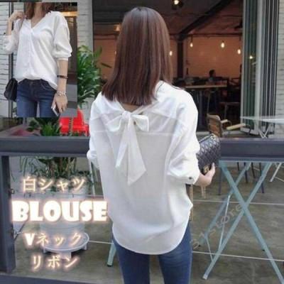ブラウスシャツレディースゆったり体型カバーブラウス白シャツ7分袖リボンきれいめビジネス2019新品