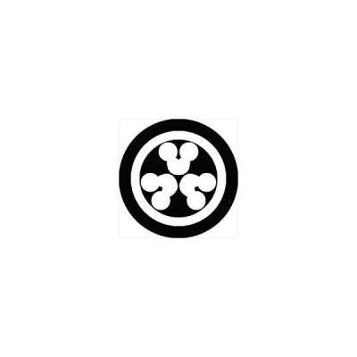 家紋シール 丸に頭合わせ三つ州浜紋 直径4cm 丸型 白紋 4枚セット KS44M-0704W