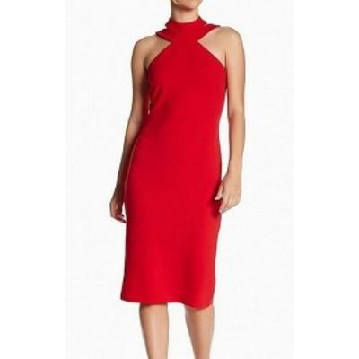 Red  ファッション ドレス bebe Womens Strappy Mock Neck Crepe Halter Red Size 10 Sheath Dress