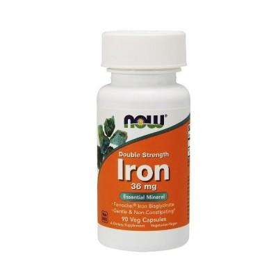 鉄 IRON ビスグリシン酸鉄 36mg 90ベジカプセル入り NOW FOODS社製