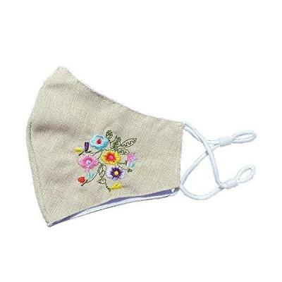 【ローズガーデン ゆめ工房】洗える フラワー刺繍マスク ピスタチオグリーン ワンポイント おしゃれマスク ?