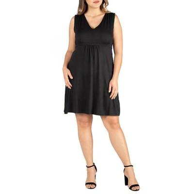 24セブンコンフォート レディース ワンピース トップス Plus Size Empire Waist Sleeveless Party Dress