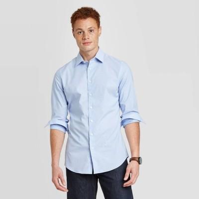グッドフェロー Goodfellow & Co メンズ シャツ トップス Slim Fit Non-Iron Dress Long Sleeve Button-Down Shirt - Horizon Blue