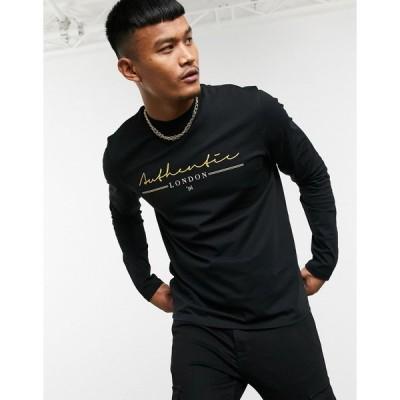 エイソス 長袖Tシャツ メンズ ASOS DESIGN long sleeve t-shirt with authentic print エイソス ASOS sale ブラック 黒