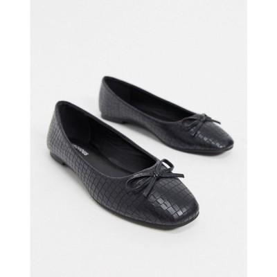 グラマラス Glamorous レディース スリッポン・フラット スクエアトゥ シューズ・靴 Ballet Pumps With Square Toe In Black Lizard ブラックリザード