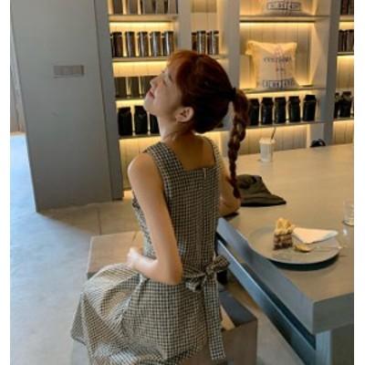 韓国 ファッション レディース ワンピース ギンガムチェック ロング リボン ハイウエスト Aライン オルチャン ゆったり 大人可愛い