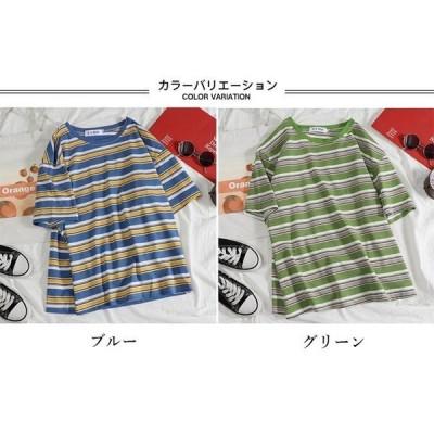 限定無料10倍ポイントTシャツ夏レディース半袖Tシャツボーダー柄夏Tシャツ半袖カットソー縞柄TシャツゆったりTシャツレトロボーダー柄Tシャツ