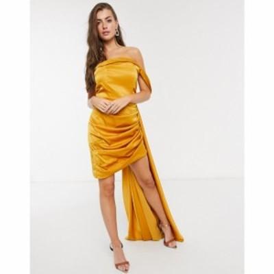 ヤウラ Yaura レディース ワンピース ミニ丈 ワンピース・ドレス Off Shoulder Fitted Satin Mini Dress With Drape イエロー