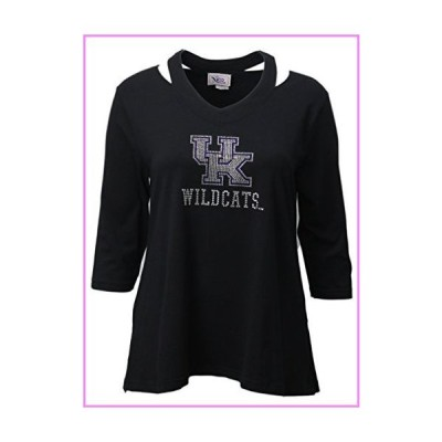 【送料無料】Nitro USA NCAA Kentucky Wildcats Women's Rhinestone UK Split Neck Top, Large, Black【並行輸入品】