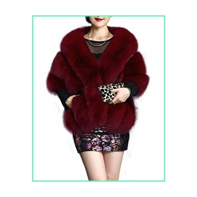 Amore Bridal Women's Luxury Party Faux Fox Fur Long Shawl Cloak Cape for Winter Dark Red並行輸入品