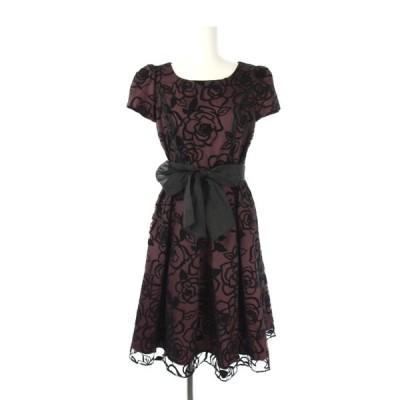 【中古】エムズグレイシー M'S GRACY フラワーワンピース ドレス ロング 半袖 チュール フレア ウエストリボン 36 ボルドー 黒 レディース 【ベクトル 古着】