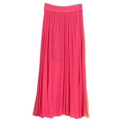 SOALLURE ロングスカート  レディースファッション  ボトムス  スカート  ロング、マキシ丈スカート フューシャ