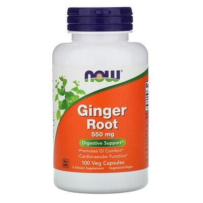 ジンジャーの根、550 mg、植物性カプセル 100粒
