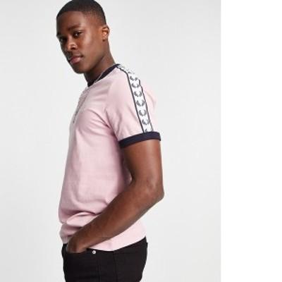 フレッドペリー メンズ シャツ トップス Fred Perry taped ringer t-shirt in lt. pink Light pink