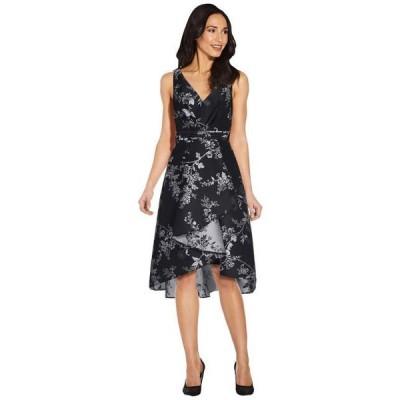 アドリアナパぺル レディース ドレス  Pleated Bodice Wrap High-Low Jacquard Dress