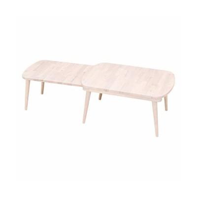 不二貿易 ローテーブル スライド式 幅70~120×奥行50×高さ34cm ホワイトウォッシュ 天然木 SLIDE Natural Signature 37656