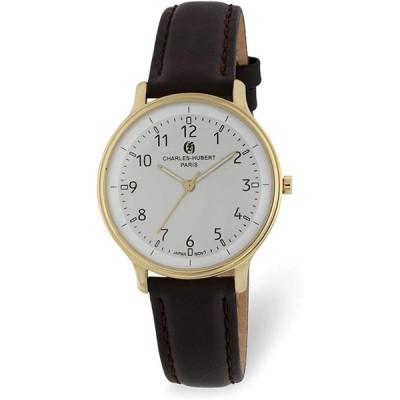 Charles Hubert Ladies IP-Plated Stainless Steel White Dial Watch (Widt