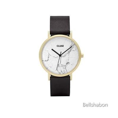 CLUSE La Roche Gold White Marble Black CL40003 Women's Watch 38mm Leather Strap Minimalistic Design Casual Dress Japanese Quartz Elegant Timepiece