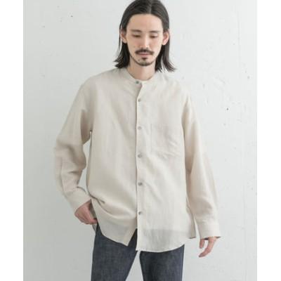 ドレープリネンバンドカラーシャツ