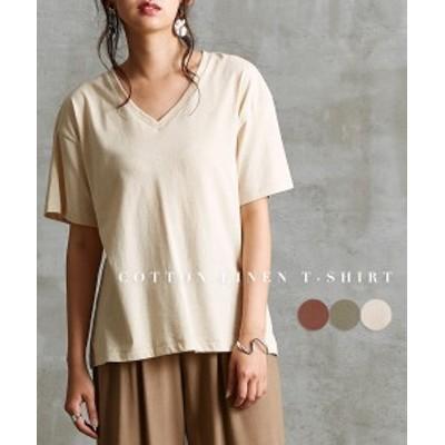 Tシャツ カットソー レディース コットン リネン ゆったり Vネック カーキ/ブラウン/ベージュ M~L ニッセン