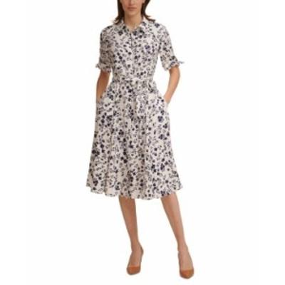 カルバンクライン レディース ワンピース トップス Petite Floral-Print Shirtdress Cream/Indigo