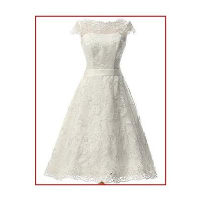 【新品】Wedding Dress with Sash Vintage Bridal Dresses Knee Length Lace Wedding Dresses for Bride (US14, Ivory)【並行輸入品】
