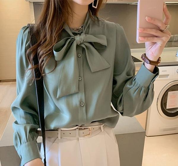 韓 襯衫 襯衣M-4XL中大尺碼氣質蝴蝶結綢緞襯衫女長袖上衣寬鬆顯瘦襯衣T317.1788 皇潮天下