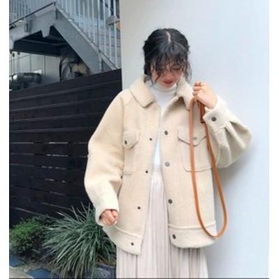 ムートンコート ボアジャケット ブルゾン ボアコート 厚手 モコモコ ショート丈 オシャレ 3色 防寒 暖かい お出掛け 冬