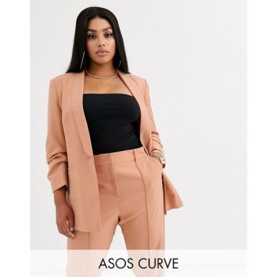 エイソス ASOS Curve レディース スーツ・ジャケット アウター ASOS DESIGN curve mix & match tailored suit blazer ベビーピンク