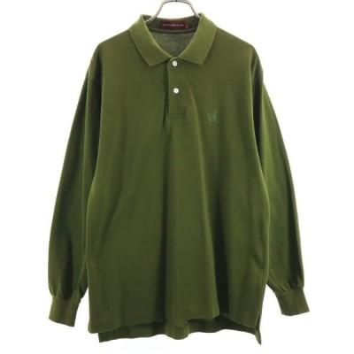 チャップスラルフローレン 長袖 ポロシャツ M グリーン系 CHAPS RALPH LAUREN ロゴ刺繍 鹿の子 メンズ 古着 210404
