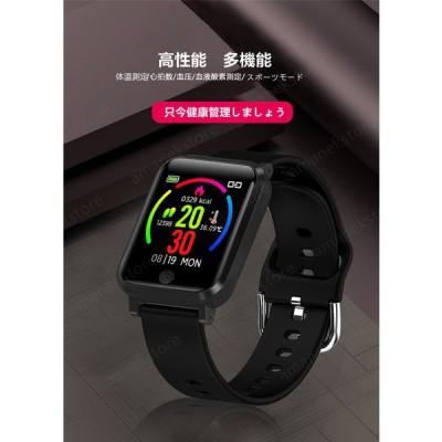 スマートウォッチ 大画面  腕時計  長い待機時間 スマートウォッチ 体温測定 IP67級防水 歩数計 心拍計 活動量計