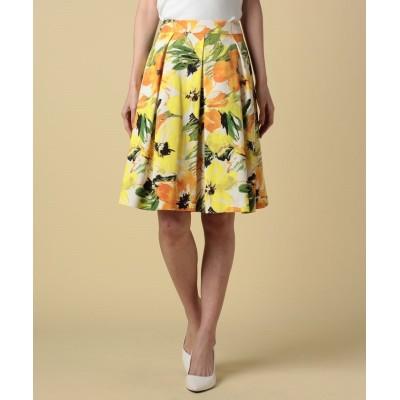【ピッコラドンナ】 グログランフラワープリントスカート レディース オレンジ 2号(9号) Piccola Donna