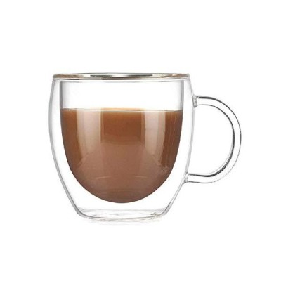 ワイングラス150ML二層コーヒーマグハンドル付き断熱材飲料カップミルクティーカップ透明ドリンクウェア素晴