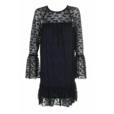 Michael Kors マイケルコルス ファッション ドレス Michael Michael Kors Petite Navy Long-Sleeve Lace Ruffle-Trim Shift Dress XS