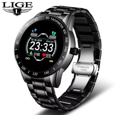 Lige鋼腕時計男性心拍数血圧モニタースポーツ多機能モードフィットネストラッカー防水スマートウォッチ