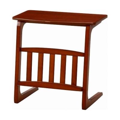 不二貿易 サイドテーブル ノルン マガジンラック付き/96553 ミドルブラウン
