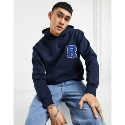ジャック アンド ジョーンズ メンズ パーカー・スウェット アウター Jack & Jones Originals oversized hoodie with collegiate chest logo in navy