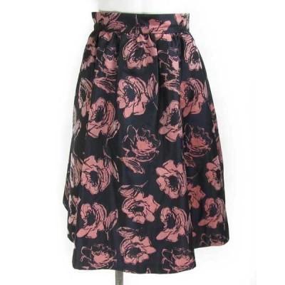 アベニールエトワール 紺 ピンク スカート 36