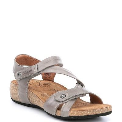 タオスフットウェア レディース サンダル シューズ Universe Banded Leather Wedge Sandals Grey