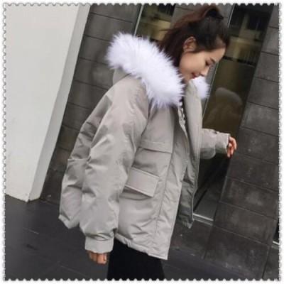 中綿ジャケットダウン風ジャケットアウターレディースショート丈冬服フードファー付き体型カバー防風防寒可愛いシンプルカジュアル